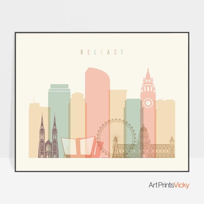Belfast poster skyline pastel cream landscape