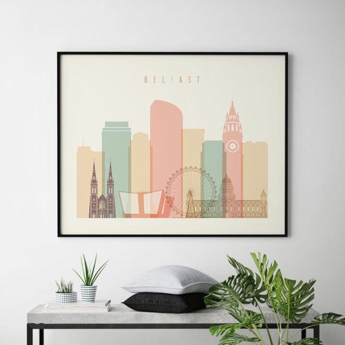 Belfast poster skyline pastel cream landscape second
