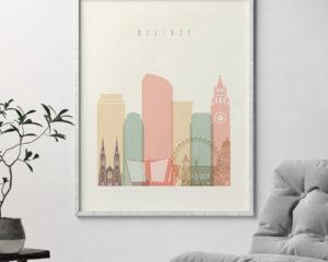 Belfast art print skyline pastel cream second