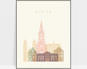 Bergen art print skyline pastel cream