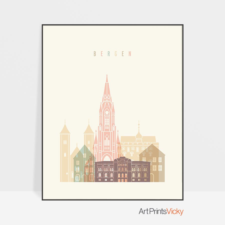 Bergen art print skyline pastel cream
