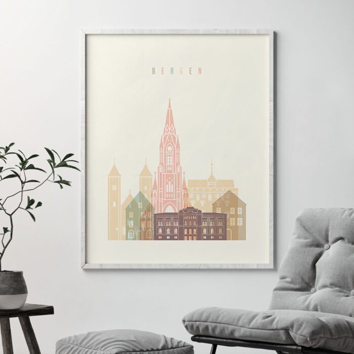 Bergen art print skyline pastel cream second