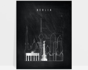 Berlin chalkboard black white skyline print