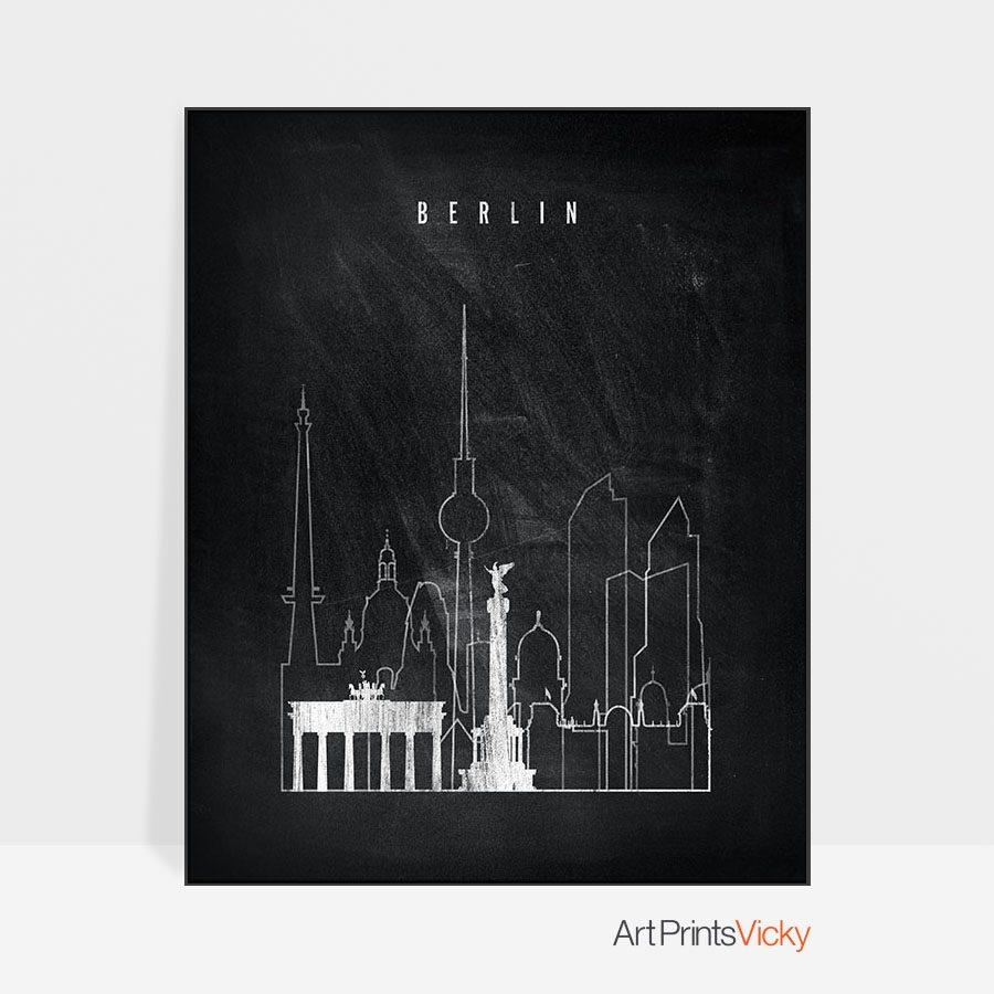 Berlin chalkboard black white skyline print