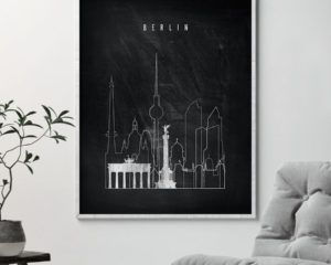 Berlin chalkboard black white skyline print second