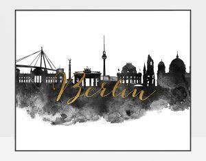 Berlin cityscape watercolor poster black white gold