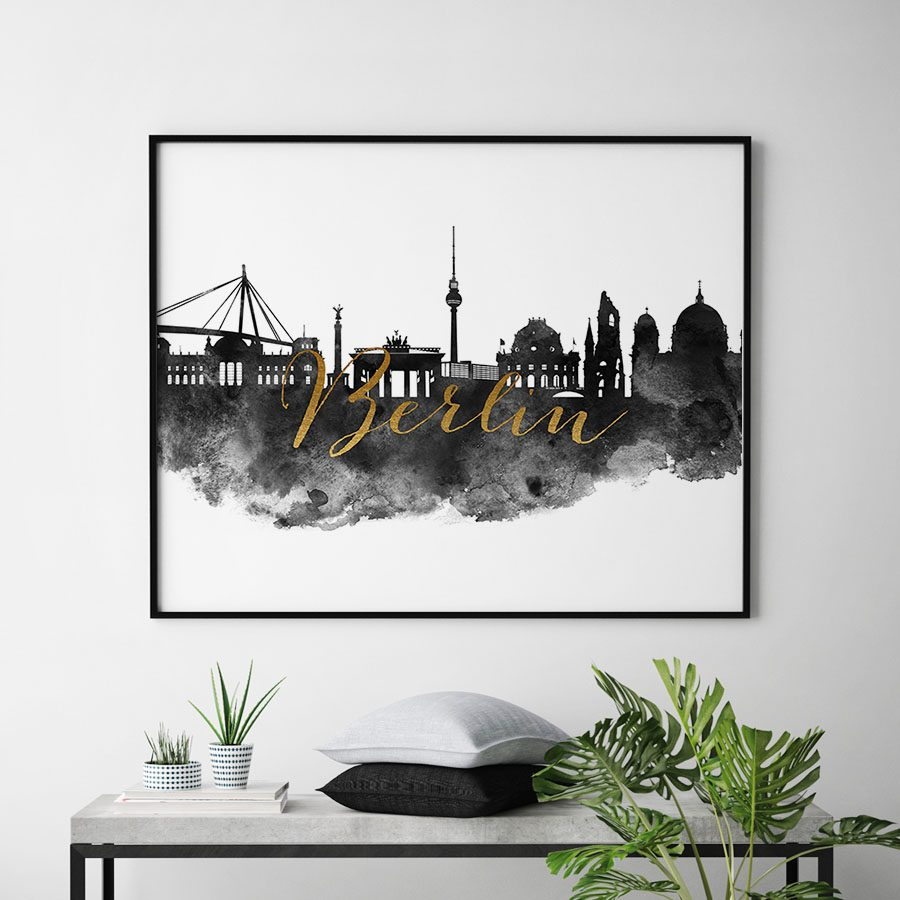 Berlin cityscape watercolor poster black white gold second