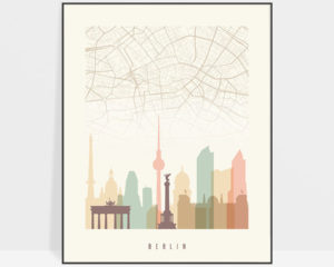 Berlin map print poster pastel cream photo