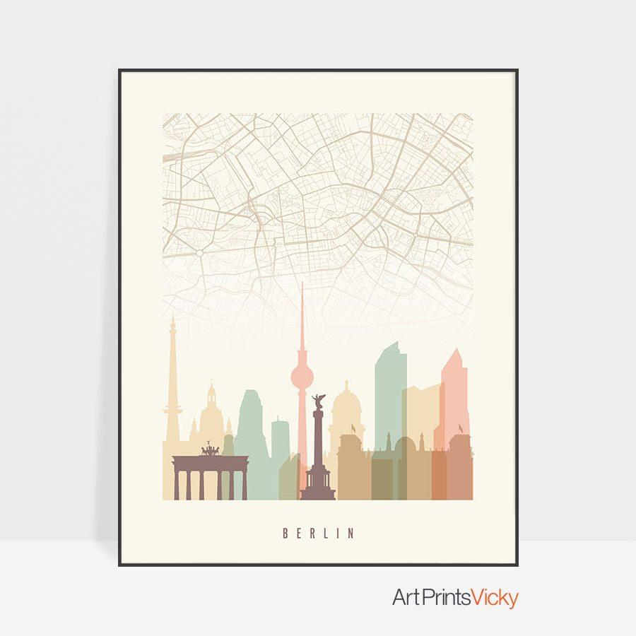 Berlin map print poster pastel cream photo