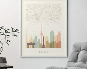 Berlin map print poster pastel cream second