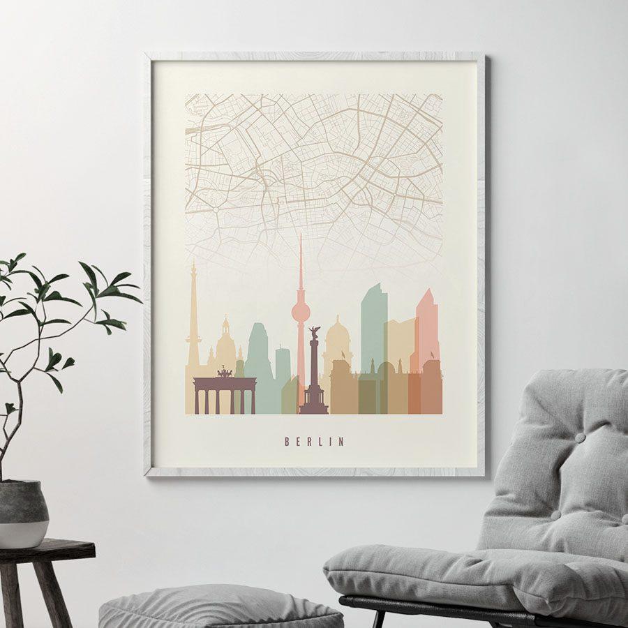 Berlin map print poster pastel cream second