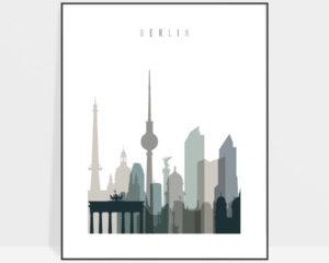 Berlin art print skyline earth tones 4