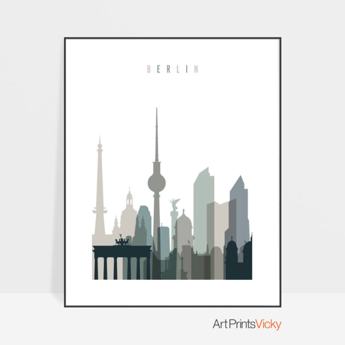 Berlin Skyline Earth Tones 4 Art Print
