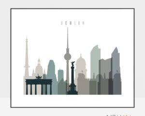 Berlin skyline print landscape earth tones 4