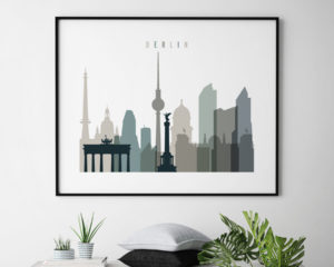 Berlin skyline print landscape earth tones 4 second