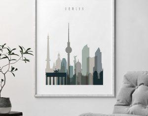 Berlin art print skyline earth tones 4 second