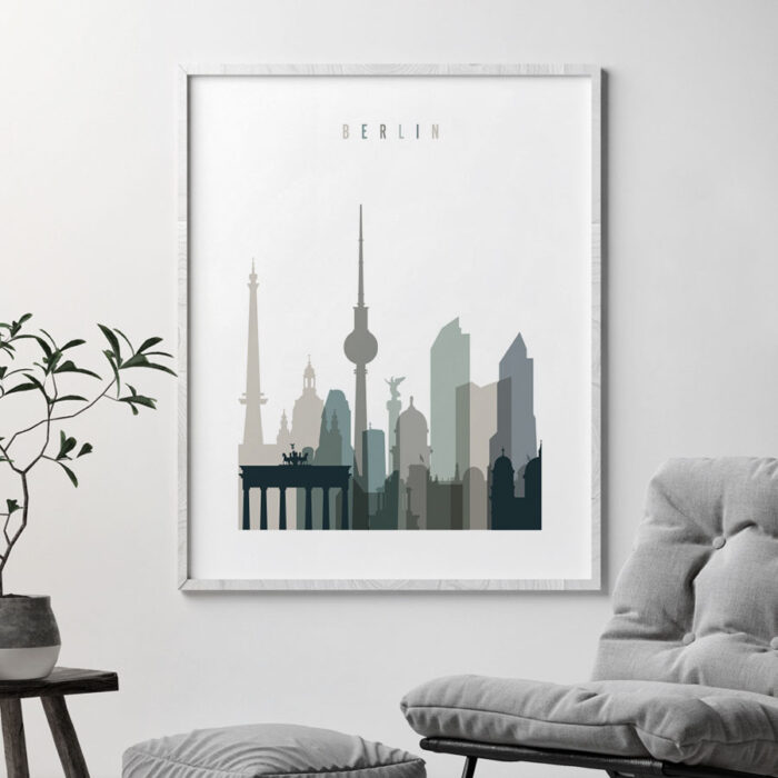 Berlin art print skyline earth tones 4 second
