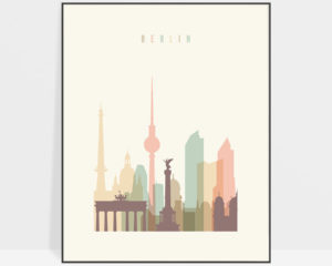 Berlin art print skyline pastel cream