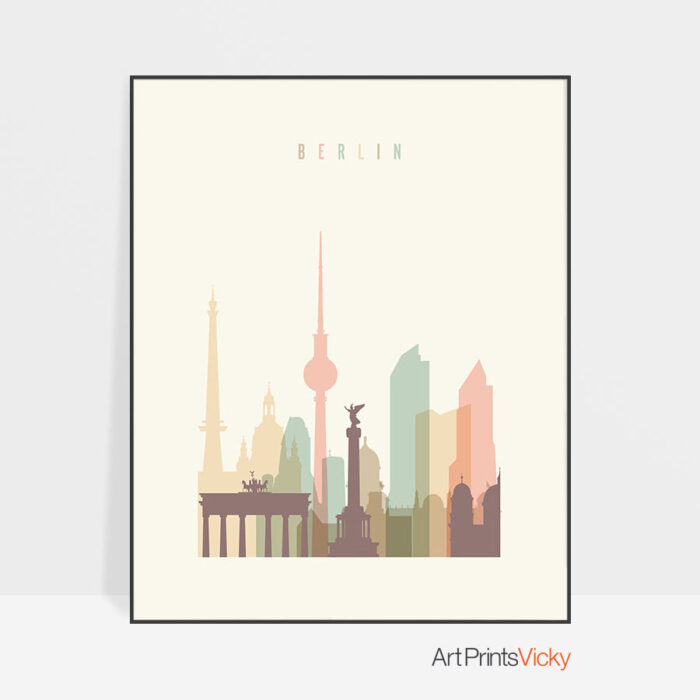Berlin art print skyline pastel cream