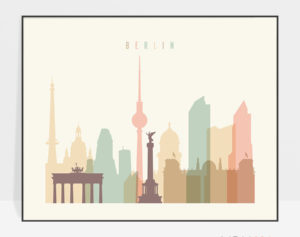 Berlin poster skyline pastel cream landscape