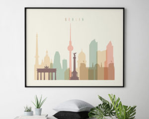 Berlin poster skyline pastel cream landscape second