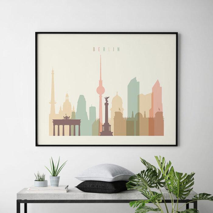 Berlin poster skyline pastel cream landscape second