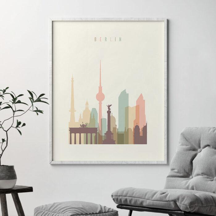 Berlin art print skyline pastel cream second