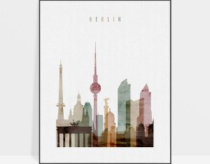 Berlin skyline art print watercolor 1