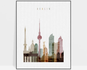 Berlin skyline art print watercolor 1