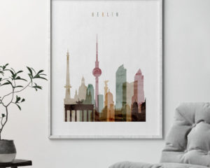 Berlin skyline art print watercolor 1 second