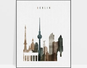 Berlin skyline poster watercolor 2