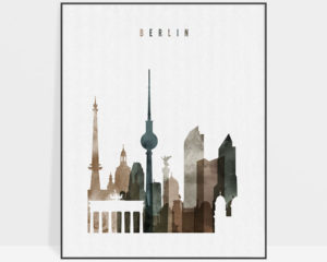 Berlin skyline poster watercolor 2