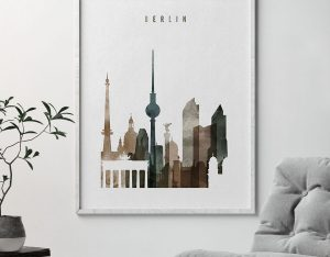 Berlin skyline poster watercolor 2 second