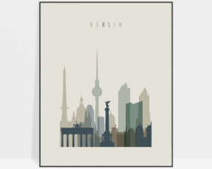 Berlin print skyline earth tones 1
