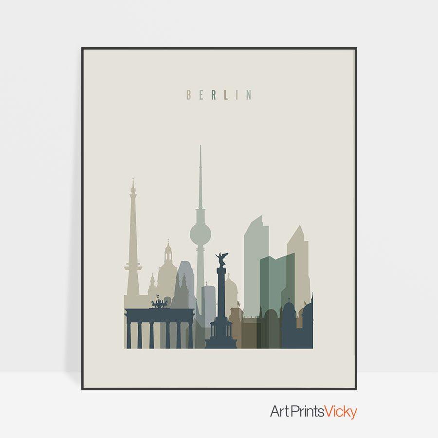 Berlin print skyline earth tones 1