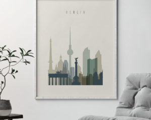 Berlin print skyline earth tones 1 second