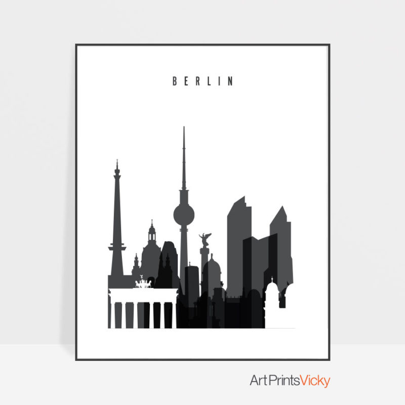 Berlin skyline black and white art