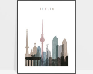 Berlin skyline poster distressed 1