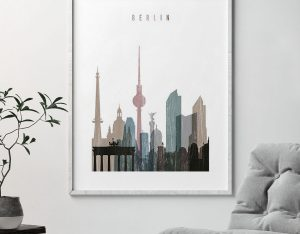 Berlin skyline poster distressed 1 second