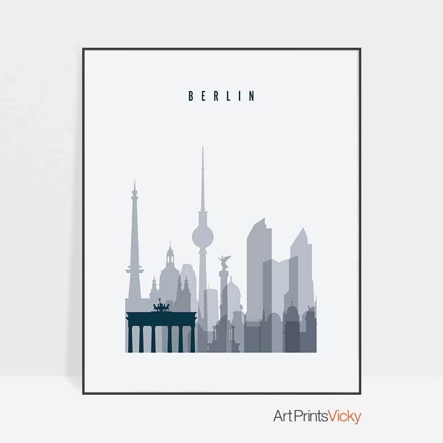 Berlin skyline poster grey blue