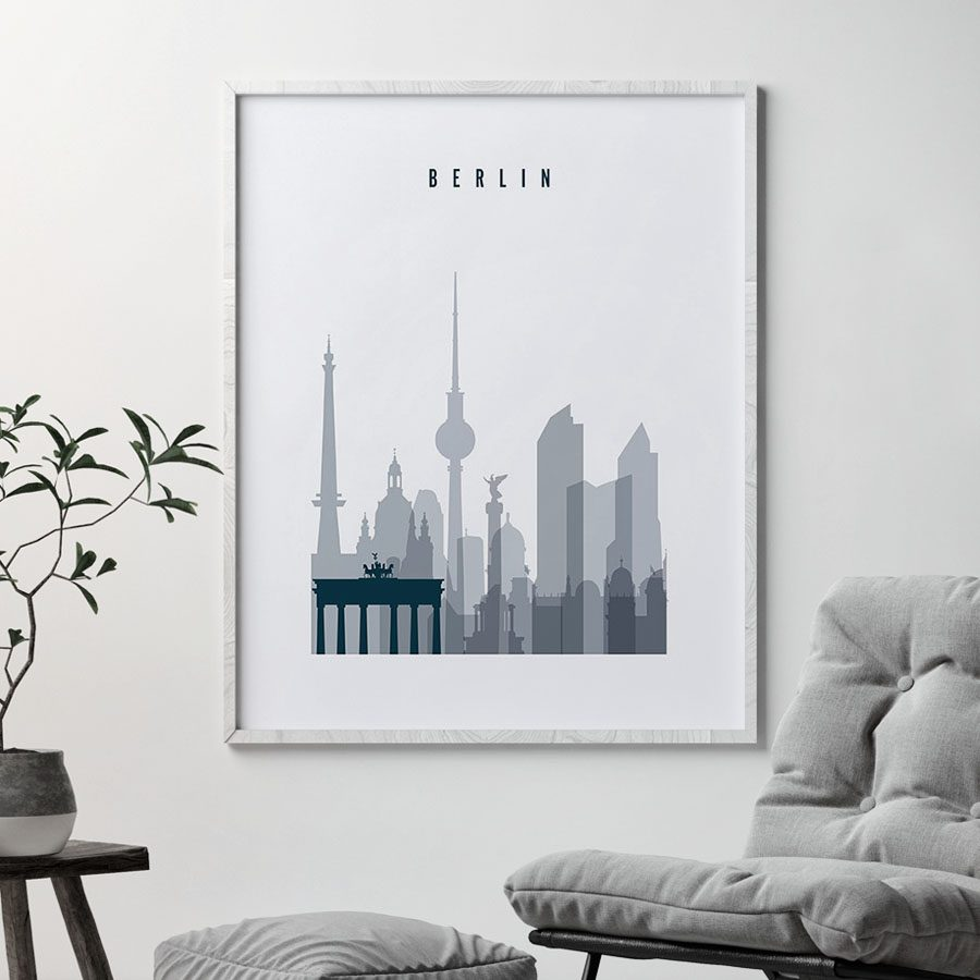 Berlin skyline poster grey blue second