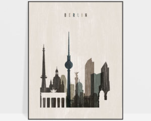Berlin skyline print distressed 2