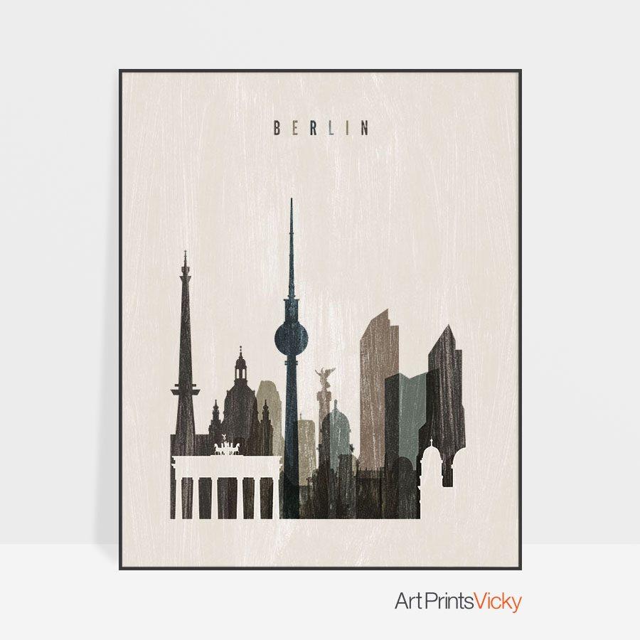 Berlin skyline print distressed 2