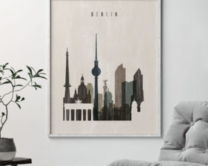 Berlin skyline print distressed 2 second