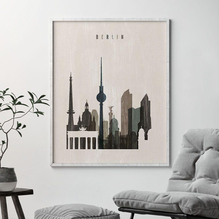 Berlin skyline print distressed 2 second