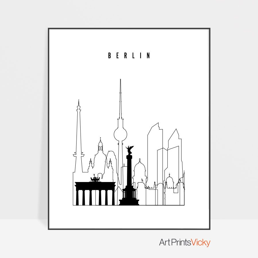 Berlin black and white art print