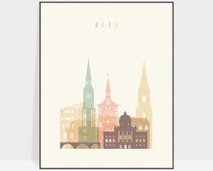 Bern art print skyline pastel cream