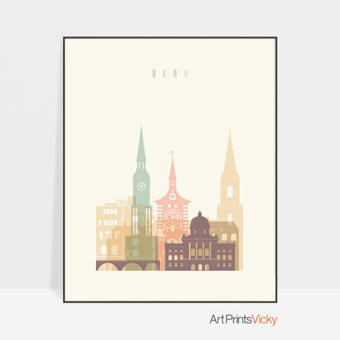 Bern art print skyline pastel cream