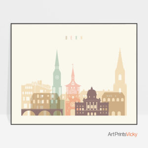 Bern poster skyline pastel cream landscape
