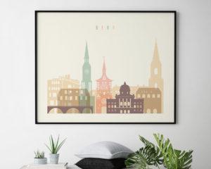 Bern poster skyline pastel cream landscape second